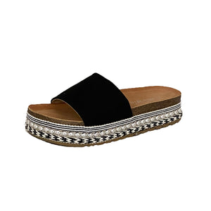 Black open toe sparkly sliders