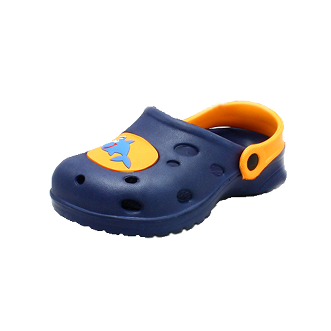 Kids Clog beach shoes with shark motif