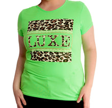 Load image into Gallery viewer, Short sleeve t-shirt with gold / leopard Luxe logo