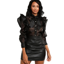 Load image into Gallery viewer, Shimmer chiffon frill sleeve blouse with bow neck