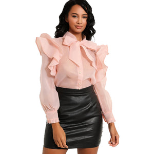 Shimmer chiffon frill sleeve blouse with bow neck
