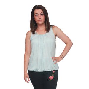Sleeveless top with pleated scoop neck and elasticated hem