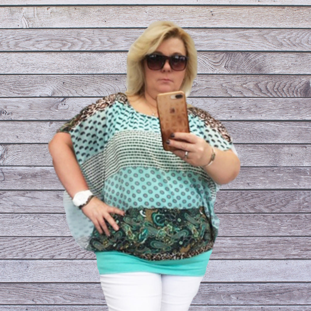 Pale Teal loose fitting blouse with undervest