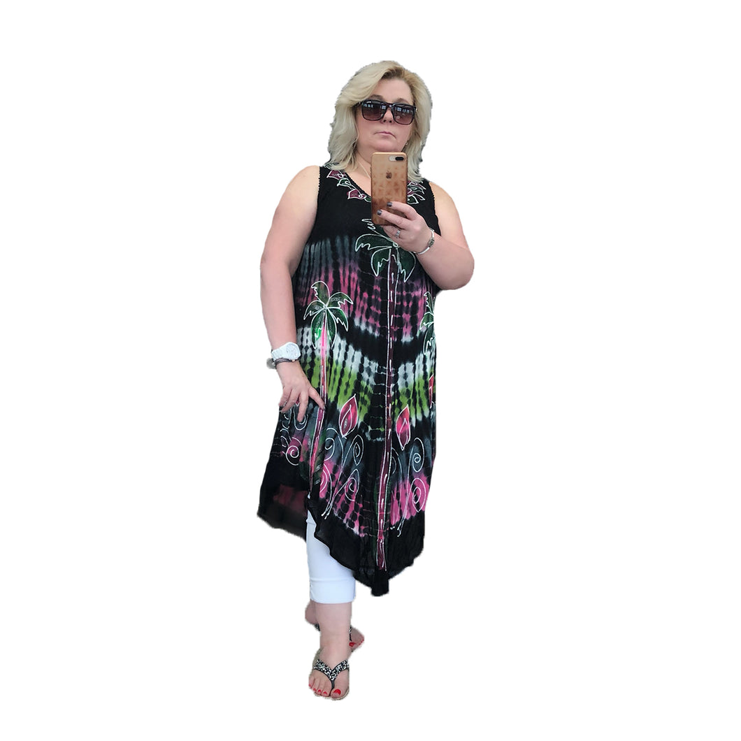 Black sleeveless cotton summer dress with palm tree pattern