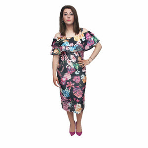 Floral bardot style fitted dress with perforated hem line