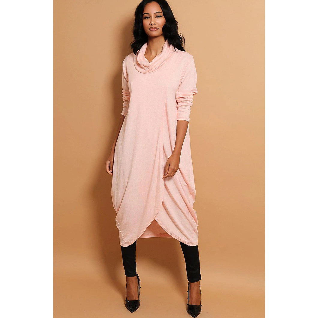 Cowl neck soft knitted wrap over dress