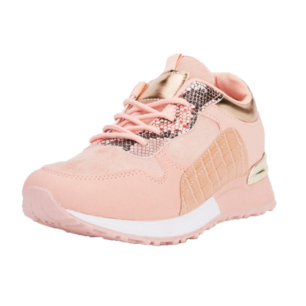 Pink / gold lace up trainers with croc effect