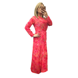 Pink / orange full length maxi dress with tie belt