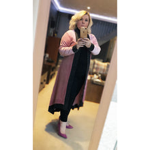 Load image into Gallery viewer, Pink Velvet feel long length open front duster jacket