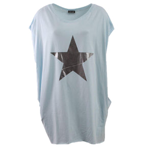Long length top with side pockets + silver star print