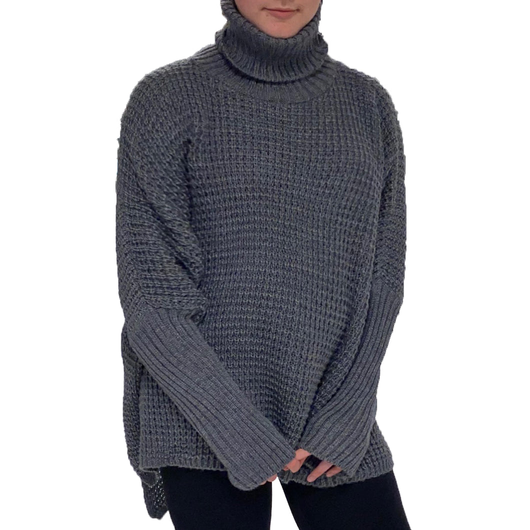 Polo Neck chunky knit jumper with dipped hem