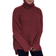 Load image into Gallery viewer, Polo Neck chunky knit jumper with dipped hem