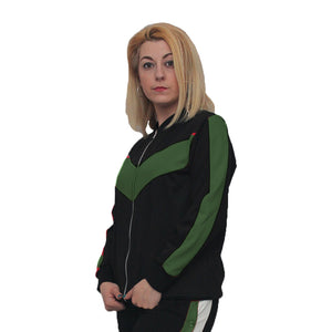 Black zip up tracksuit top / jacket with contrasting side stripes