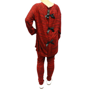 Red Long length bow back lounge suit