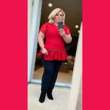 Load image into Gallery viewer, Lace short Sleeve Peplum top - plus sizes too