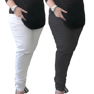 Plus Size Stetchy Jeans with ripped knees