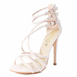 Nude Pink suedette high slim heel strappy shoes / sandals