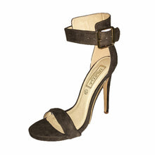 Load image into Gallery viewer, Khaki Green suedette high heel sandals with ankle strap