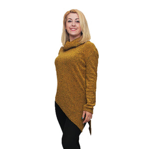 Knitted roll neck jumper with A-symmetrical hem