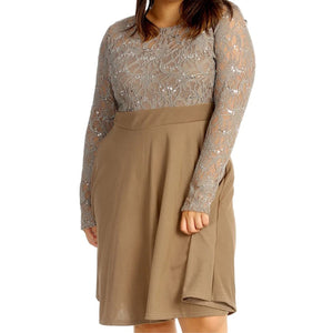 Sequin and lace Skater dress - plus sizes