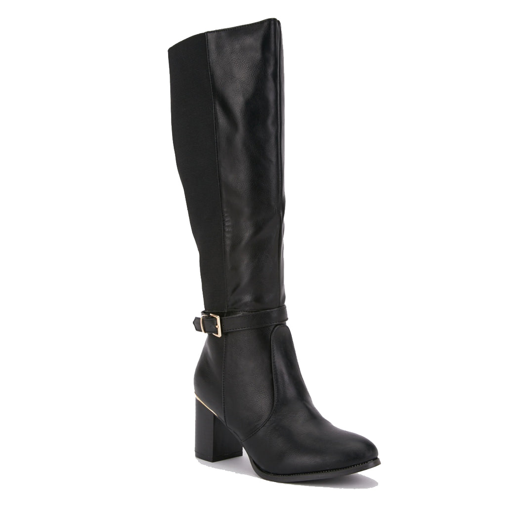 Black high heel knee length boots with elastic panel
