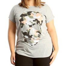 Load image into Gallery viewer, Longer length dipped hem t-shirt with glitter skull to front