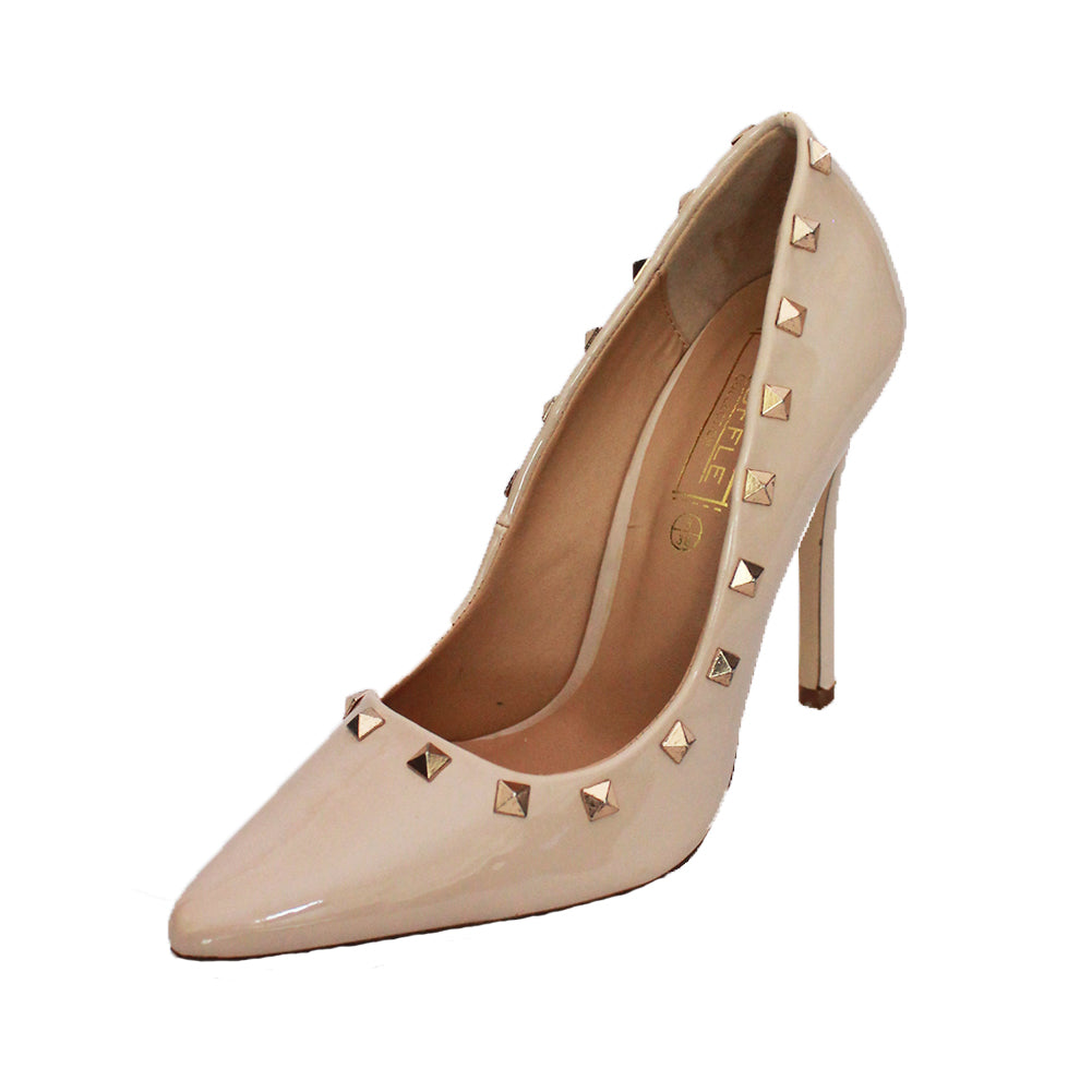 Patent pointy toe stiletto court shoes