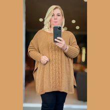 Load image into Gallery viewer, Cable front jumper with fitted sleeves and slit sides