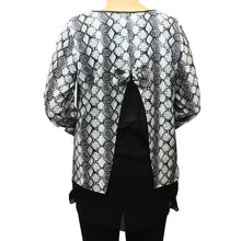 Load image into Gallery viewer, Grey snake print dipped hem top with net and bow back