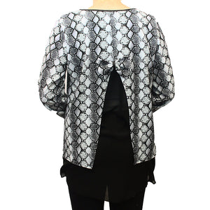 Grey snake print dipped hem top with net and bow back