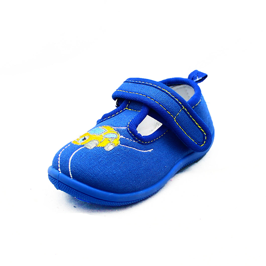 Little Boys Blue Canvas Pumps with embroidered car
