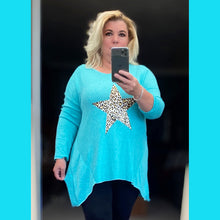 Load image into Gallery viewer, Super soft hanky hem Jumper with leopard star