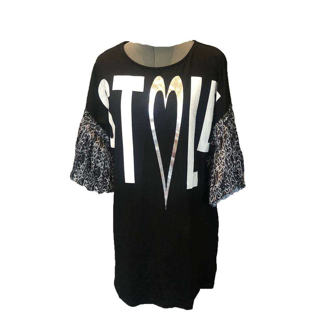 Black frilled sleeve stole logo tshirt