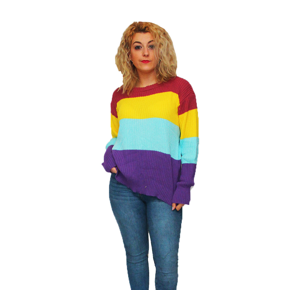Multi Coloured striped baggy fit round neck jumper