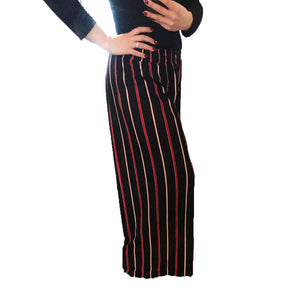 Pleated palazzo trousers with brown, red and white striped pattern