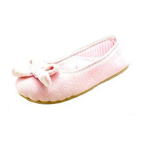 Pale Pink Fleece slippers with striped inner