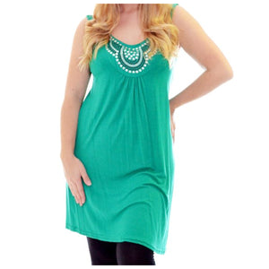 long length sleeveless tunic with studded neck
