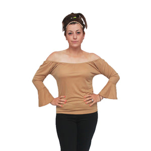 Off shoulder gypsy top bardot style frilled sleeves
