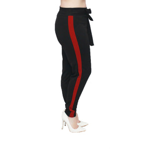 High waist trousers with side stripe and tie waist