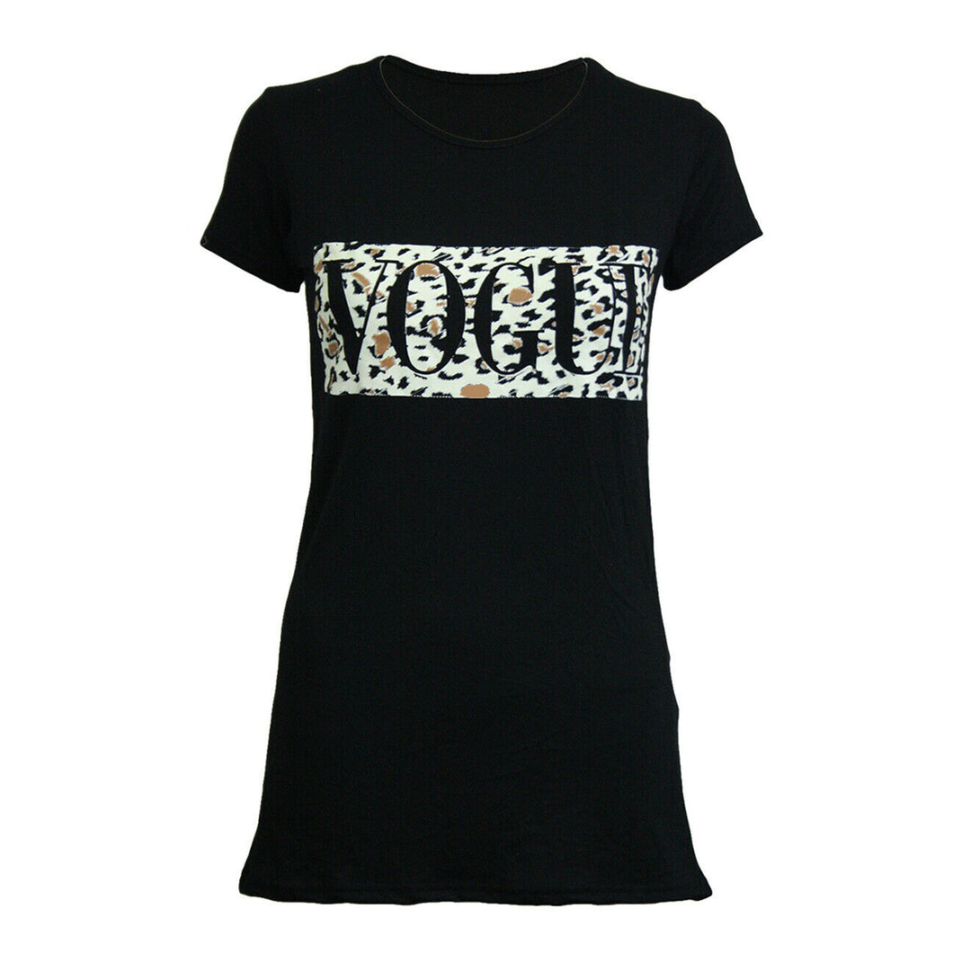 Fitted Vogue t-shirt with various patterns