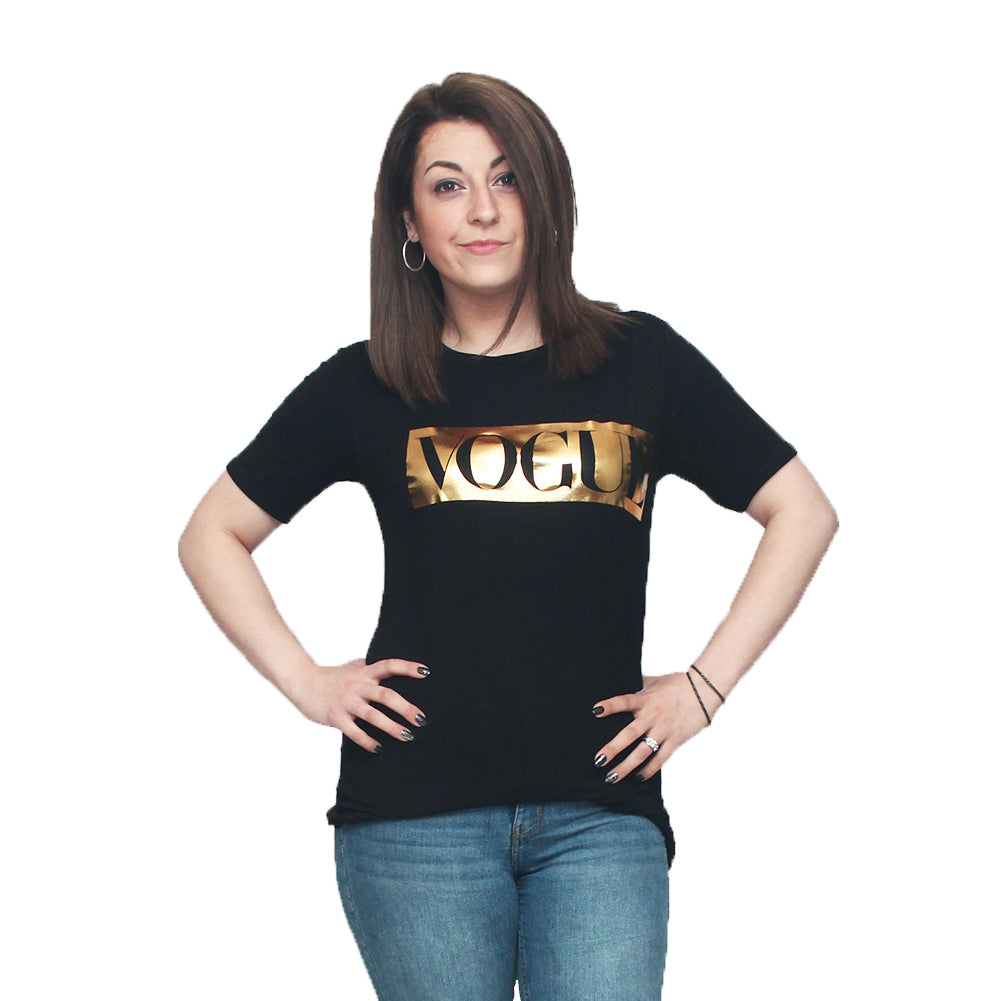 Black short sleeve tshirt with gold vogue logo