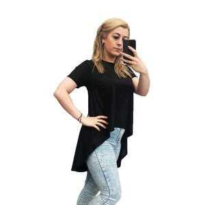 Black wetlook short sleeve top with dipped hem - CLEARANCE