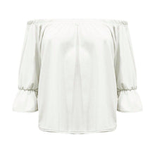 Load image into Gallery viewer, Off shoulder gypsy top bardot style frilled sleeves