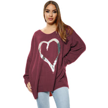 Load image into Gallery viewer, Loose fitting super soft jumper with large silver foil heart