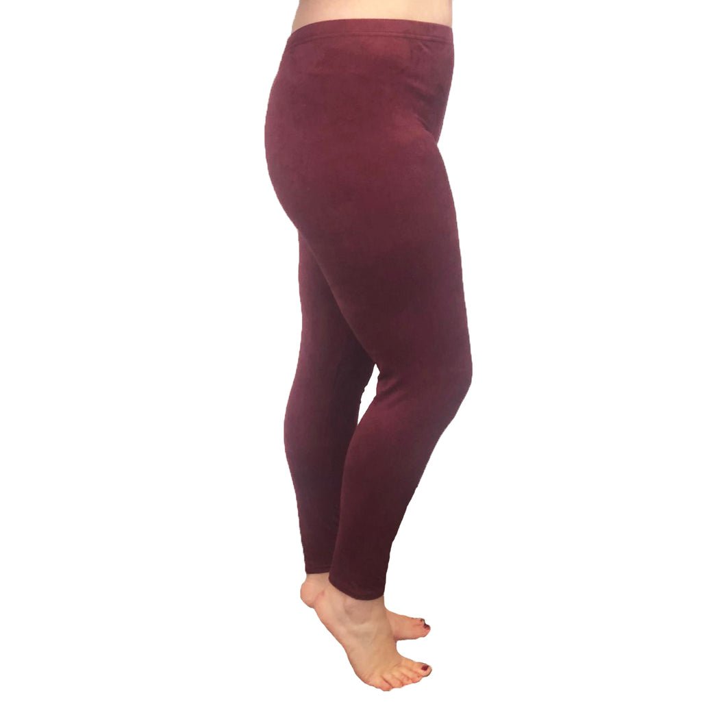 Wine stretchy suedette leggings - Plus sizes too
