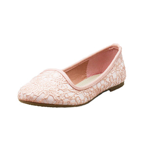 Pink Lace Covered Flat party / bridesmaid shoes
