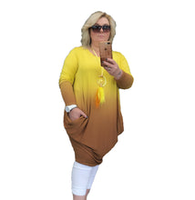 Load image into Gallery viewer, Yellow Brown Ombre loose fitting dress with side pockets
