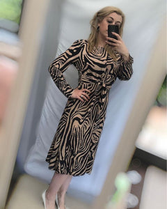 Brown satin zebra dress with tie waist