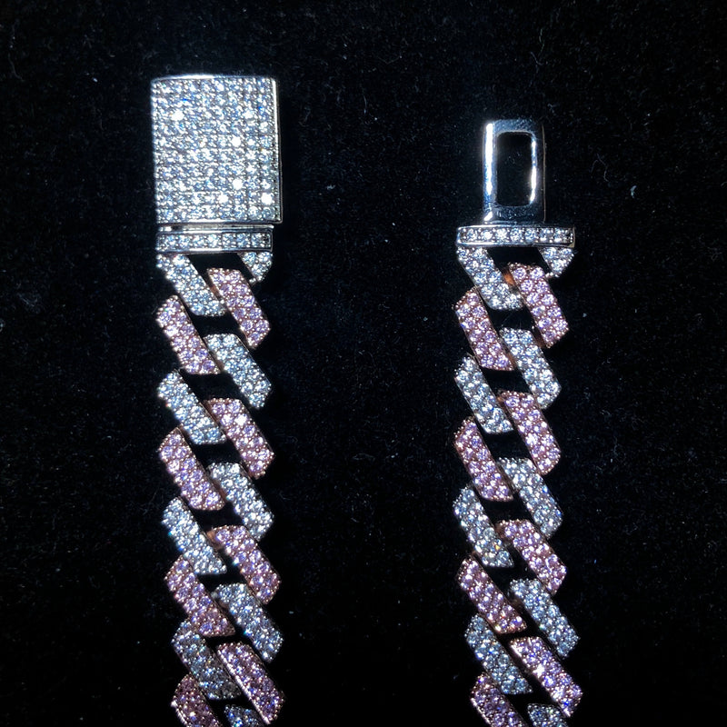 14mm Diamond Prong Link Chain - 2-Tone