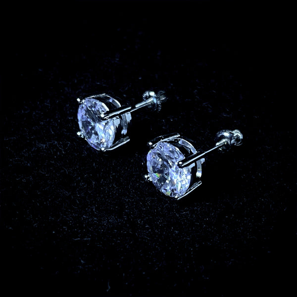 8mm Round Cut Stud Earrings - Pair